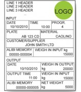 AF03 Software For Vehicle Weighing Systems Sample Label