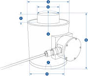NI Wired Compression Load Cell Dimensions