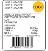 AF01 Bespoke Weighing Systems Totalising And Dosage Systems Label Example