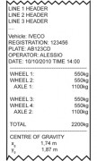 AF08 Software For 3590E Indicators For Wheel Weighing Systems With Various Platforms Sample Label
