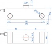 DSBI Double Ended Shear Beam Load Cell Dimensions