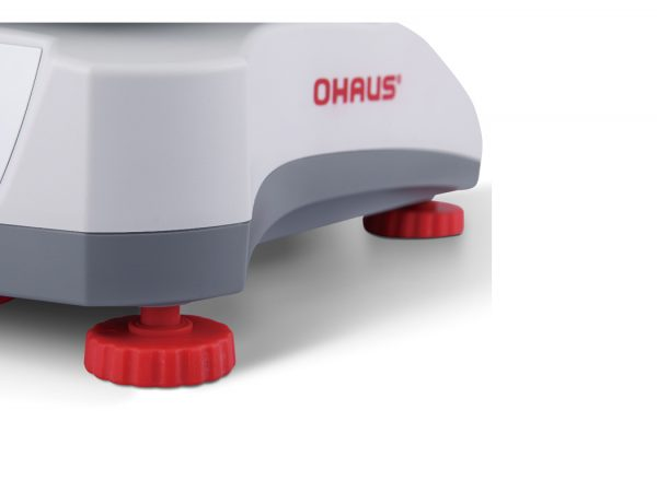 Four adjustable feet on all of the Ohaus Valor series of food production scales