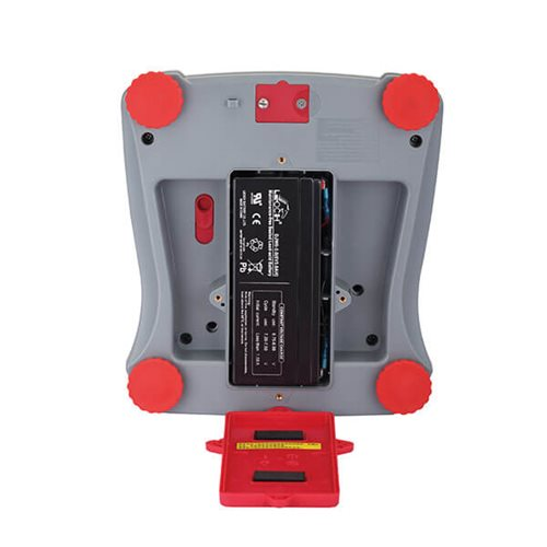 The Ohaus Valor 2000 features a rechargeable battery that is easily interchangeable.