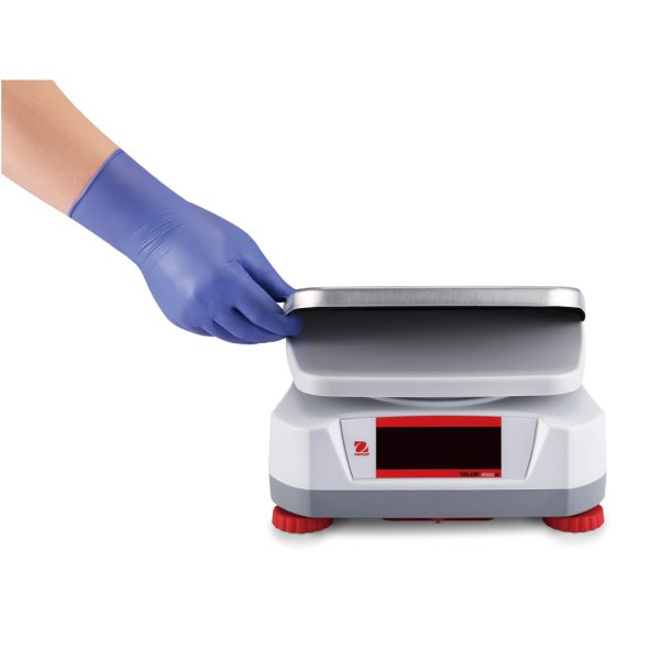 The Ohaus Valor 2000 features a removable stainless steel top plate for easy cleaning.