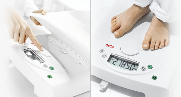 The weighing tray can be removed quickly and easily at the touch of a button