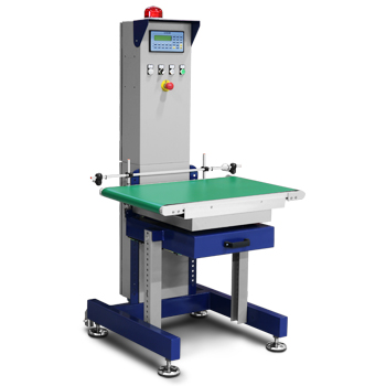 The painted mild steel version of the DWL automatic inline checkweigher