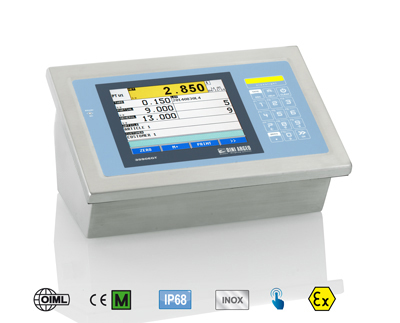 Weight indicator with a big touch screen display, for ATEX 2 & 22 areas classified at risk of explosion.