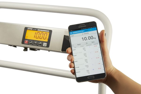 Communication with smartphones or tablets using the Cart-300 weighing app.