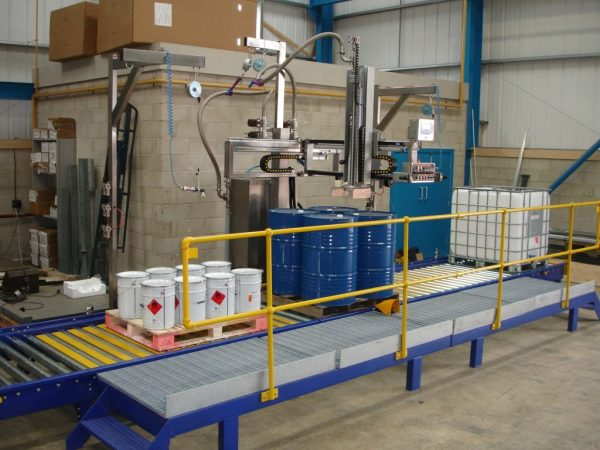 FT-200 Filling Chemicals in to Barrels on a Conveyor
