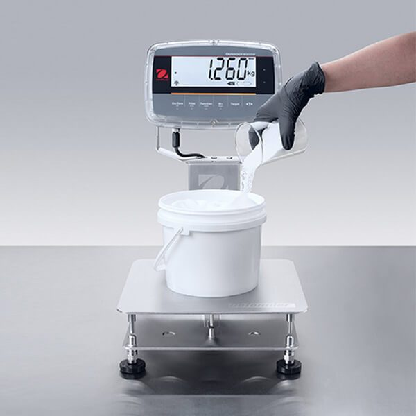 The all new Ohaus Defender 6000 IP68 IP69K bench scales for weighing in harsh environments